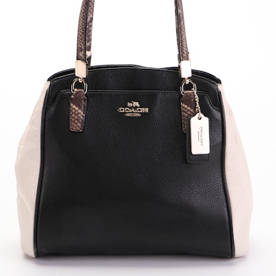 Coach Bicolor Grained Leather Handbag with Snake Effect Accents