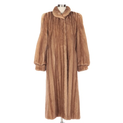 Pastel Mink Fur Full-Length Coat with Banded Cuffs from Thomas E. McElroy