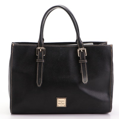 Dooney & Bourke Black Leather Two-Way Tote with Contrast Stitching