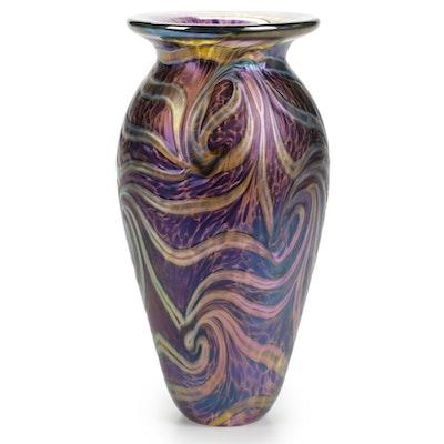 Robert Eickholt Handblown Iridescent Art Glass Vase, 2007