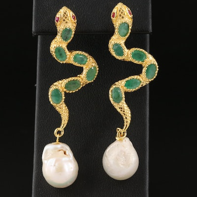Sterling Snake Drop Earrings with Pearl, Emerald and Ruby
