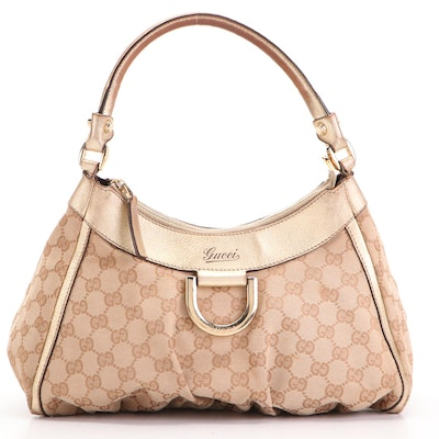 Gucci Abbey D-Ring GG Canvas and Metallic Leather Shoulder Bag
