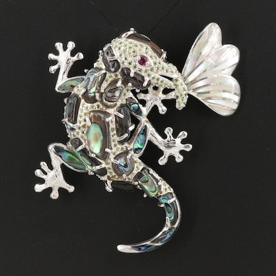 Sterling Gecko and Insect Abalone, Mother of Pearl and Garnet Converter Brooch