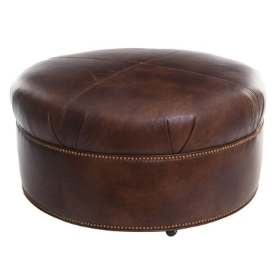 David A. Millet Faux Leather Ottoman with Mitered Top and Brass Nailhead Trim