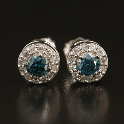 10K 0.70 CTW Diamond Halo Stud Earrings