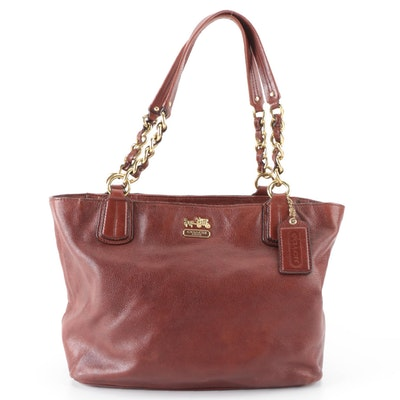 Coach Madison Shoulder Bag in Acorn Brown Grained Leather