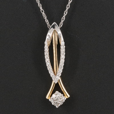 10K Two Tone 0.16 CTW Diamond Slide Pendant Necklace