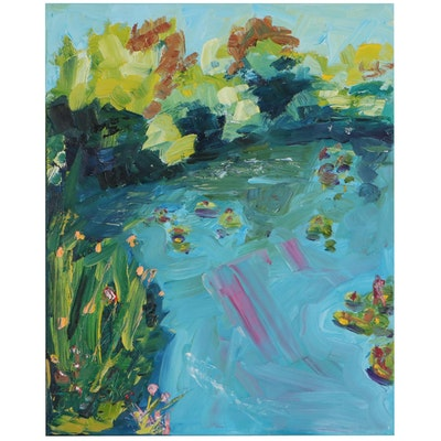 """Patricia Nolan Brown Oil Painting """"The Pond,"""" 2021"""
