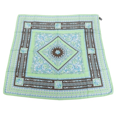 Versace Collection Multicolor Baroque Patterned Silk Scarf