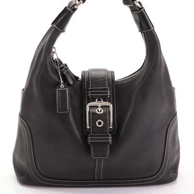 Coach Hamilton Buckle Front Shoulder Bag in Contrast Stitched Black Leather