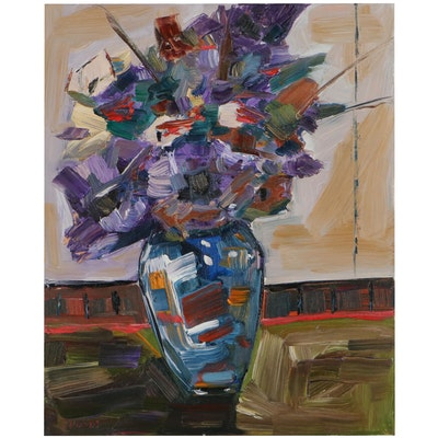 """Patricia Nolan Brown Oil """"Mixed Flowers in Vase,"""" 2021"""