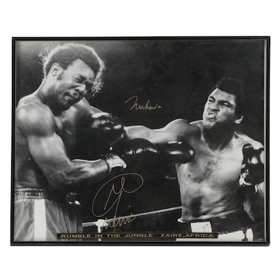 """Muhammad Ali and George Foreman Signed """"Rumble in the Jungle"""" Boxing Photo Print"""
