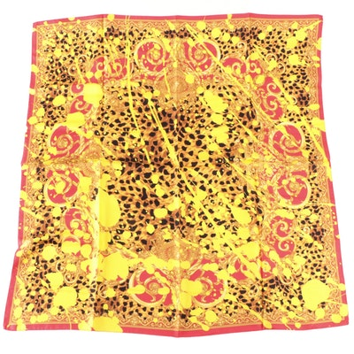 Versace Collection Baroque and Leopard Print Silk Scarf