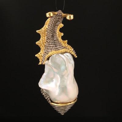 Sterling Pearl and Rhodolite Garnet Snail Pendant