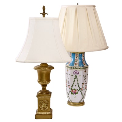 Borghese Chalkware Urn Lamp and Other Hand-Painted Porcelain Table Lamp