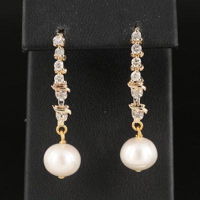 10K and 14K Diamond and Pearl Drop Earrings