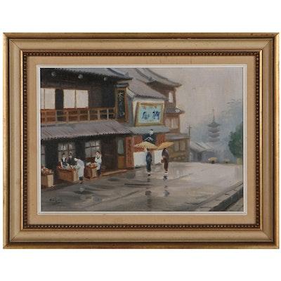 Nobuo Hayashi Japanese Street Scene Oil Painting