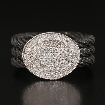 Charriol 18K 0.53 CTW Diamond Cluster and Black Stainless Steel Cable Ring