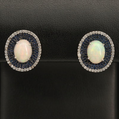 Sterling Opal, Topaz, and Sapphire Earrings