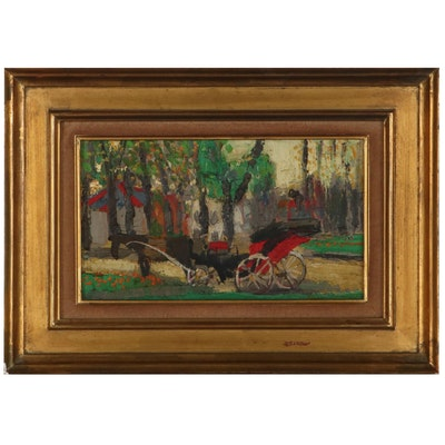 Jean Joyet Impasto Landscape with Carriage Oil Painting