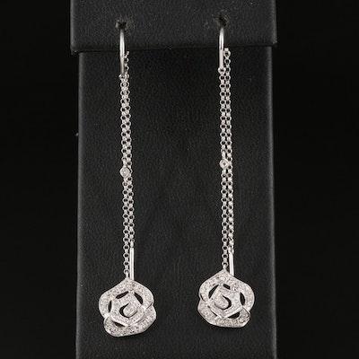14K 0.12 CTW Diamond Floral Threader Earrings