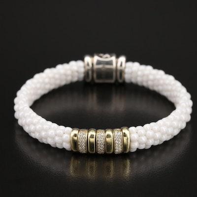 Caviar by Lagos 18K and Sterling Diamond and Ceramic Bracelet