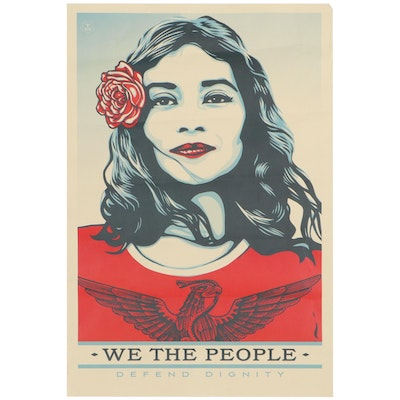 """Shepard Fairey for Amplifier Offset Poster """"We the People: Defend Dignity"""""""