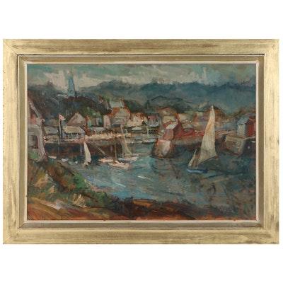 Harold Rotenberg Harbor Scene Oil Painting