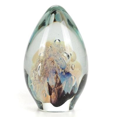 Robert Eickholt Handblown Controlled Bubble Art Glass Paperweight