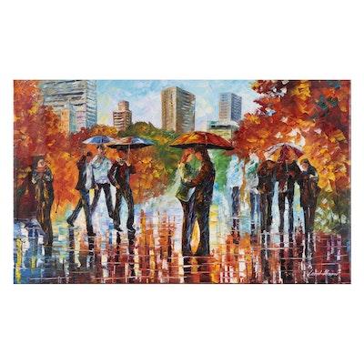 Leonid Alfremov Acrylic Painting of Figures in the Rain, 2015