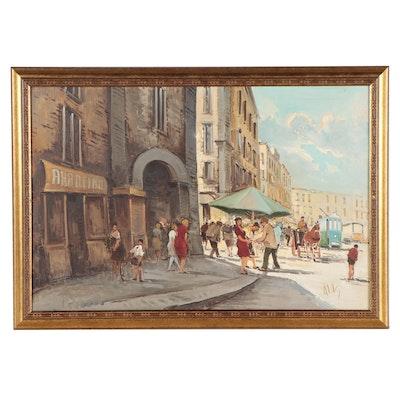 Antonio deVity Street Scene Oil Painting