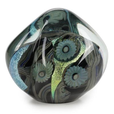 """Robert Eickholt """"Deep Sea"""" Handblown Art Glass Paperweight, 2001"""