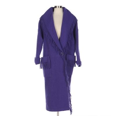 Gallery Purple Wool Fringe Shawl Collar Coat, 1980s