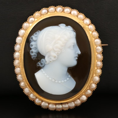 Antique 14K Oval Onyx and Pearl Cameo Brooch with Watch Hook