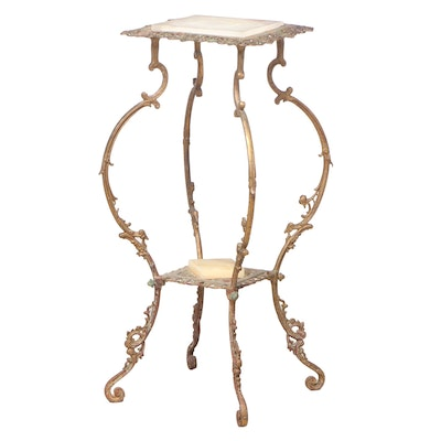 """Rococo Revival Gilt Metal and Onyx Two-Tier Stand, Stamped """"N.B. & L.W."""""""