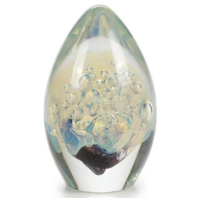 Robert Eickholt Handblown Dichroic Controlled Bubble Art Glass Paperweight, 2000