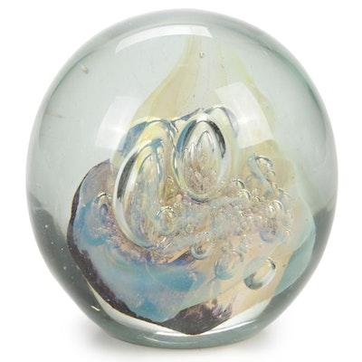 Robert Eickholt Handblown Dichroic Controlled Bubble Art Glass Paperweight