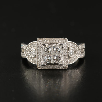 14K 1.03 CTW Diamond Cluster Ring