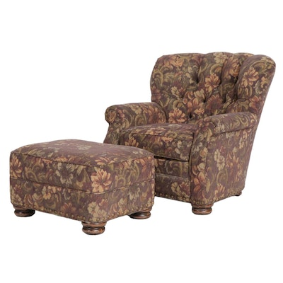 Overstuffed Upholstered Armchair and Ottoman