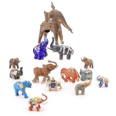 Fenton Hand-Painted Glass Elephant Figurine with Other Elephant Figurines