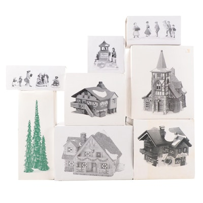 """Department 56 """"Alpine Village"""" and Other Porcelain Buildings and Villagers"""