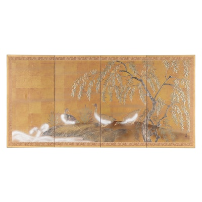 Japanese Style Hand-Painted Byōbu Folding Screen, Mid-20th Century