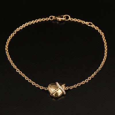 "David Yurman 18K 0.05 CTW Diamond ""Le Petit Coeur"" Sculpted Heart Bracelet"