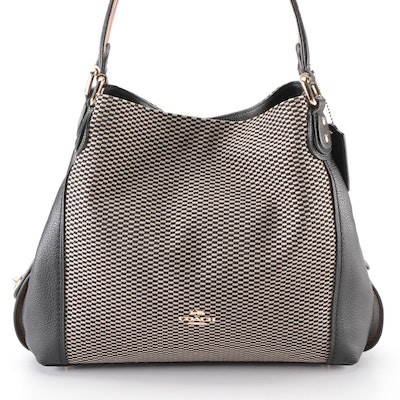 Coach Legacy Jacquard Edie 31 Medium Shoulder Bag with Black Grained Leather