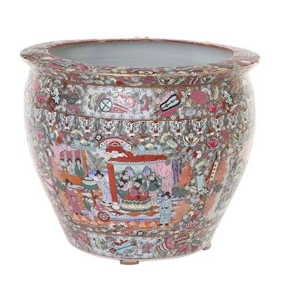 Chinese Famille Rose Enameled Porcelain Fish Bowl Jardinière