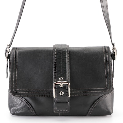 Coach Hampton Buckle Flap Crossbody Bag in Black Leather with Contrast Stitching