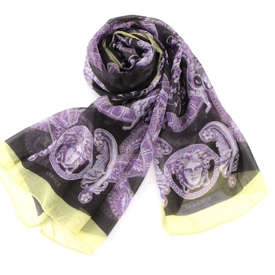 Versace Collection Baroque Patterned Wrap in Modal and Cashmere