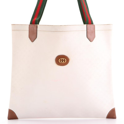Gucci Tote Bag in White GG Coated Canvas with Web Straps