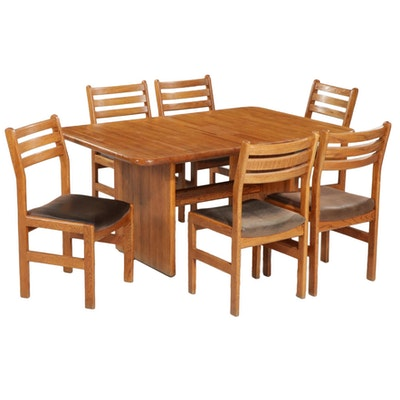 Modern Style Oak Dining Table and Six Chairs, Late 20th Century