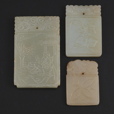 East Asian Carved Serpentine Tile Pendants